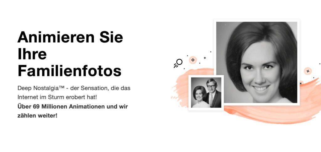 """Ein Ausschnitt der MyHeritage-Webseite, auf der ihr neben dem Stammbaum-Angebot für die eigene Ahnenforschung auch die """"Deep Nostalgia""""-Technologie zum Animieren von alten Fotos findet."""