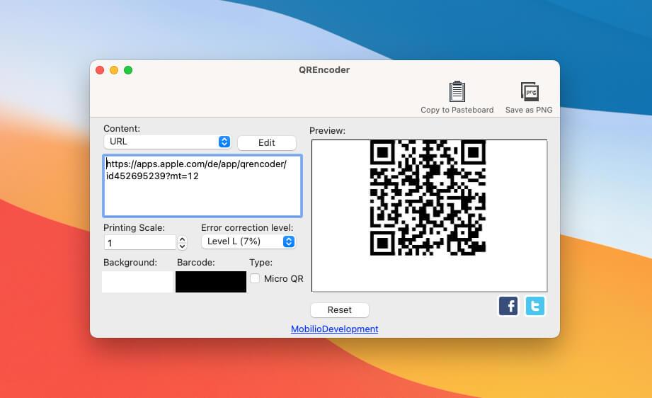Die Mac-App QREncoder bietet eine übersichtliche Bedienoberfläche und verzichtet auf Schnick-Schnack –aber sie funktioniert.