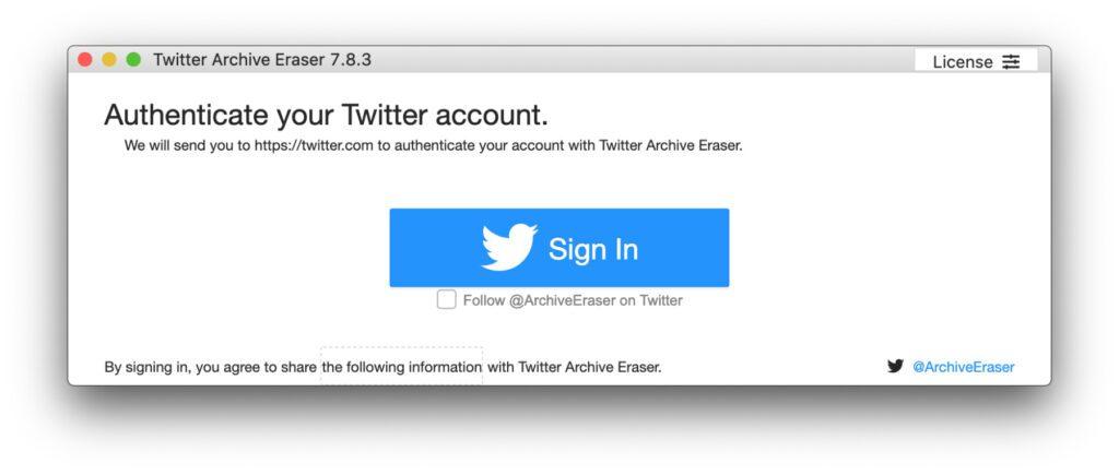 """Alle Tweets löschen mit der Mac- und Windows-App """"Twitter Archive Eraser"""" – am Anfang steht der Login."""