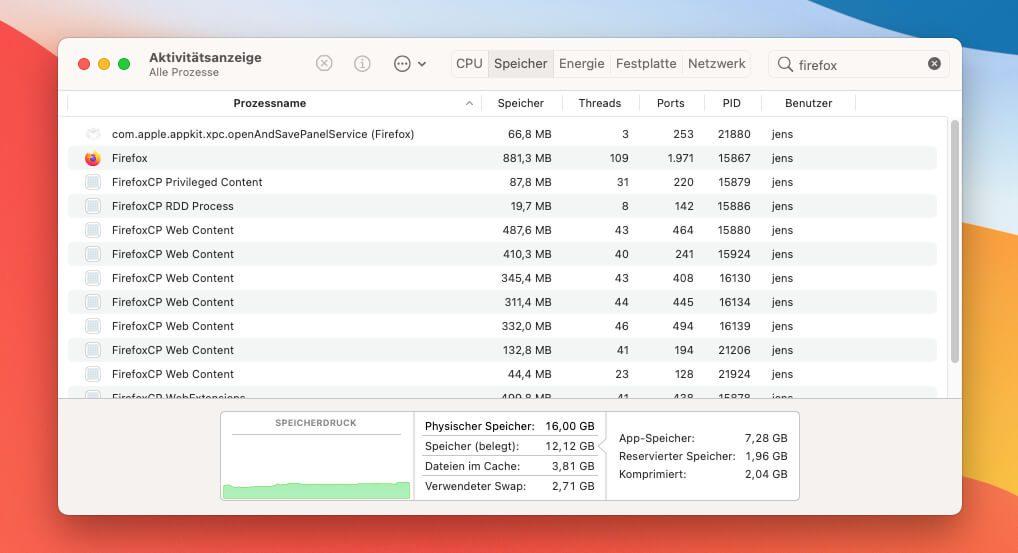 Über die Aktivitätsanzeige kann man die Prozesse filtern, die zum Beispiel zu Firefox gehören. So findet man heraus, wie viel Arbeitsspeicher der Browser insgesamt benötigt.