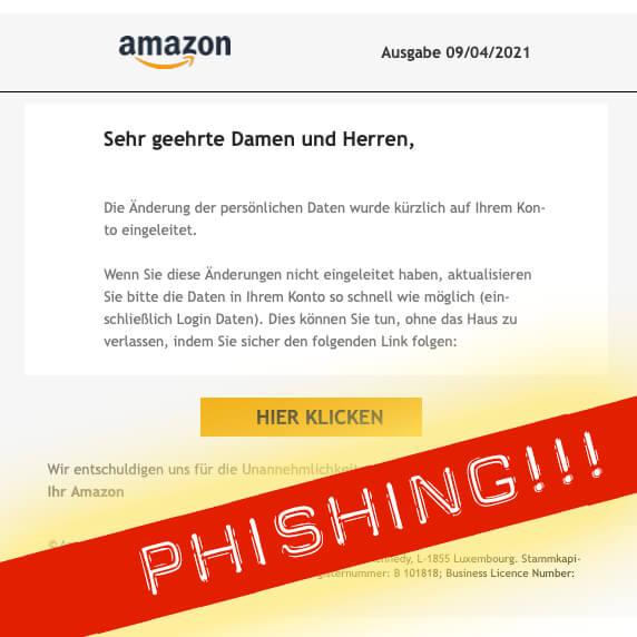 Amazon Sicherheitsalarm Phishing