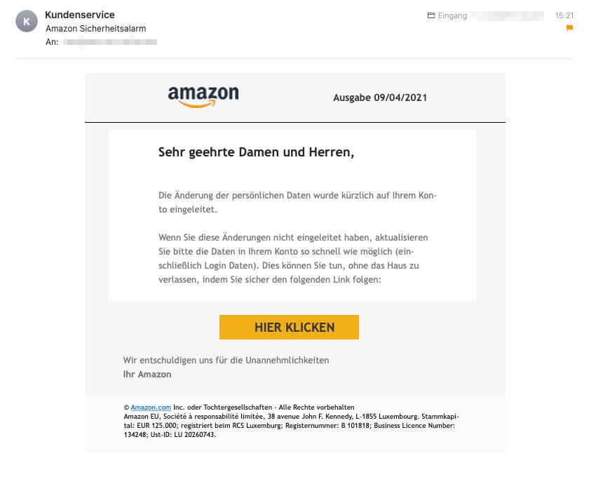 So sieht die E-Mail aus, die angeblich von Amazon stamm.
