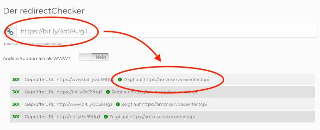Ein Redirect-Checker erlaubt das risikolose Prüfen, zu welcher Webseite man mit der WEiterleitung geschickt wird.