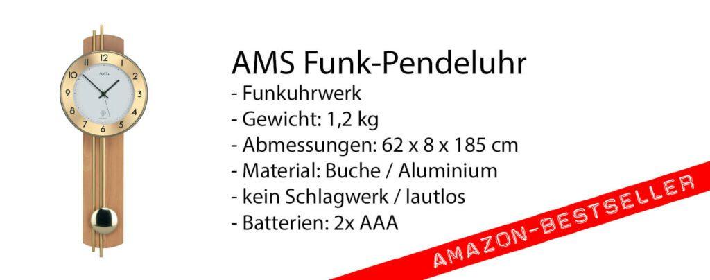 Die AMS Funk-Wanduhr mit Pendel ist einer der Bestseller auf Amazon. Nicht ohne Grund, denn die moderne Ästhetik passt in viele Wohnräume (Foto: Amazon).