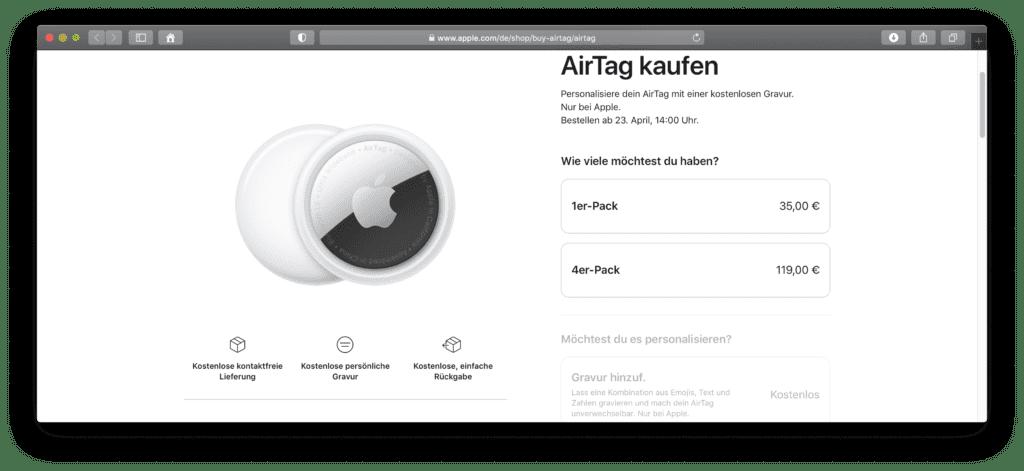 Apple AirTag im offiziellen Online Shop des Herstellers.