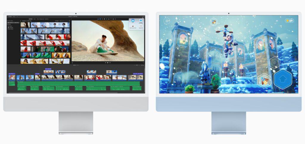 """Videos bearbeiten und schneiden, Fotos nachbearbeiten, 3D-Kunst erstellen, Videospiele spielen, Filme schauen, im Home Office arbeiten – das und vieles mehr wird mit dem neuen 24"""" iMac mit M1-Chip möglich."""
