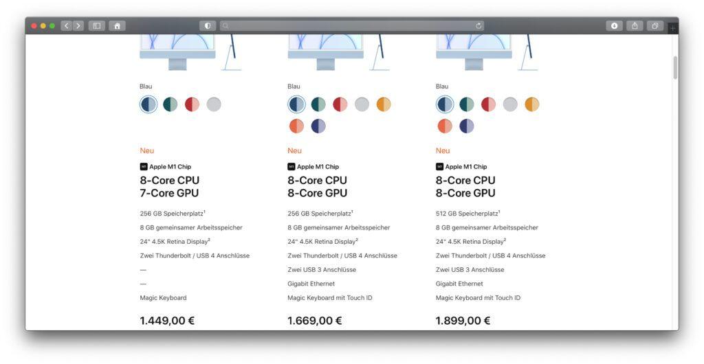 """Im Apple Online Shop kann man den neuen 24"""" iMac mit M1-Chip noch nicht konfigurieren. Die drei Grundausstattungen sind aber schon inkl. Preis aufgelistet."""