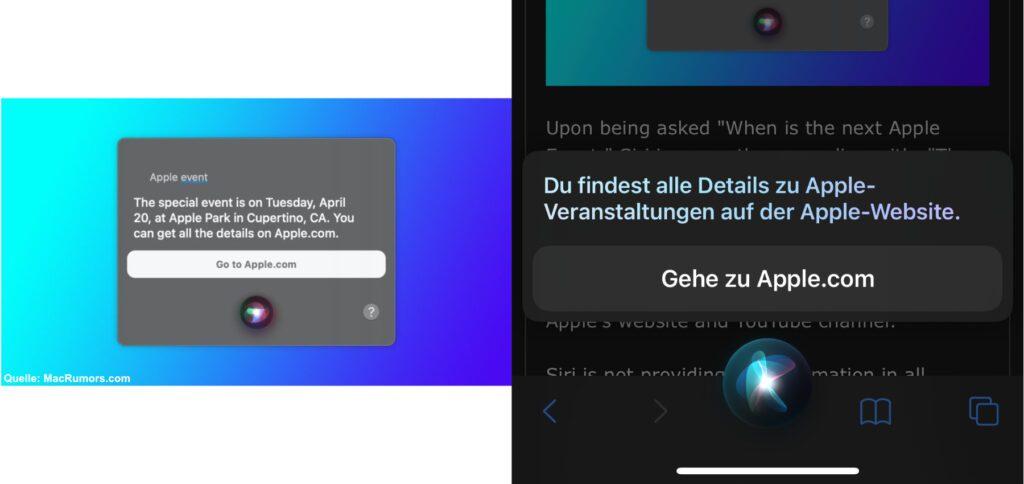 Links: Ein Screenshot, der im verlinkten MacRumors-Beitrag zu finden ist. Rechts: Meine Siri-Anfrage, die kein Datum zu Tage fördern konnte.