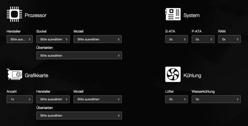 Ein Netzteil-Rechner, wie dieser hier auf bequiet.com ermöglicht die Kalkulation der Leistung, welche das Netzteil für den PC haben sollte (Screenshot: bequiet)..