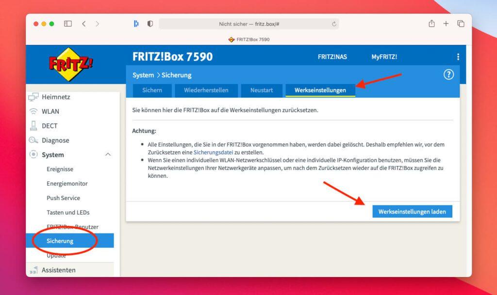 """Die Funktion """"Werkseinstellungen laden"""" entspricht quasi dem Reset der FritzBox."""