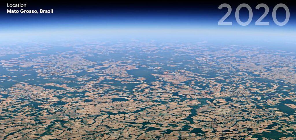 Google Earth mit 4D-Funktion: Das neue Timelapse Feature zeigt mit Satellitenaufnahmen u. a. Abholzung, Städte-Wachstum, Abschmelzen von Eisflächen und mehr auf.