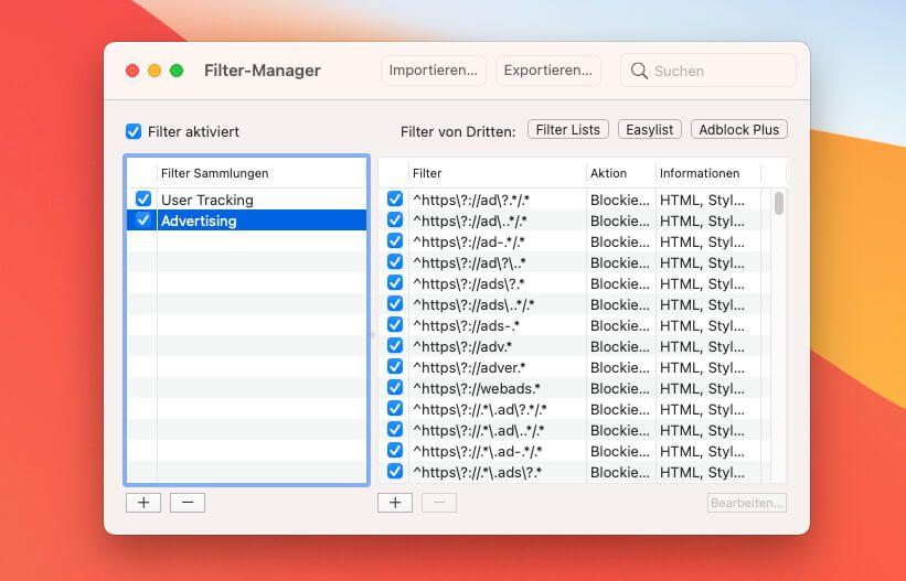 Im Filter-Manager kann man einstellen, ob man nur Tracker oder nur Werbung oder beides blocken möchte. Die Einstellungen lassen sich sehr detailiert vornehmen.