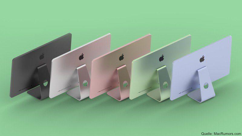 So stellen sich einige die kommenden iMac-Modelle von Apple vor. Als Erinnerung an den Apple iMac von 1998 könnten die Versionen mit Apple Silicon SoC wieder bunt werden. Quelle: MacRumors.com