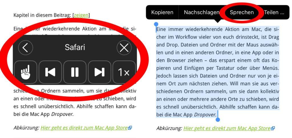 """Test mit einem Sir-Apfelot-Beitrag: Ihr könnt den gesamten Display-Text über """"Bildschirminhalt sprechen"""" oder nur den markierten Teil über """"Auswahl sprechen"""" von Siri vorlesen lassen."""