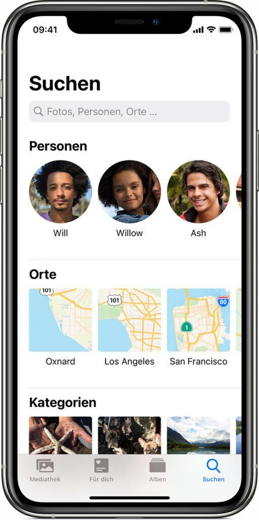 So kann es aussehen, wenn die Fotos-App auf dem iPhone die Fotos u. a. nach Orten sortiert und sie in entsprechende Alben einordnet. Quelle: Apple.com