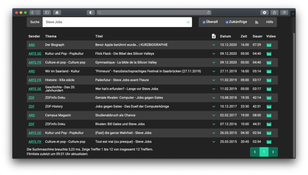 Neben dem MediathekView Download für Mac, Windows-PC und Linux-Computer gibt's auf der Entwickler/innen-Seite auch die Suche-Funktion im Web Client.