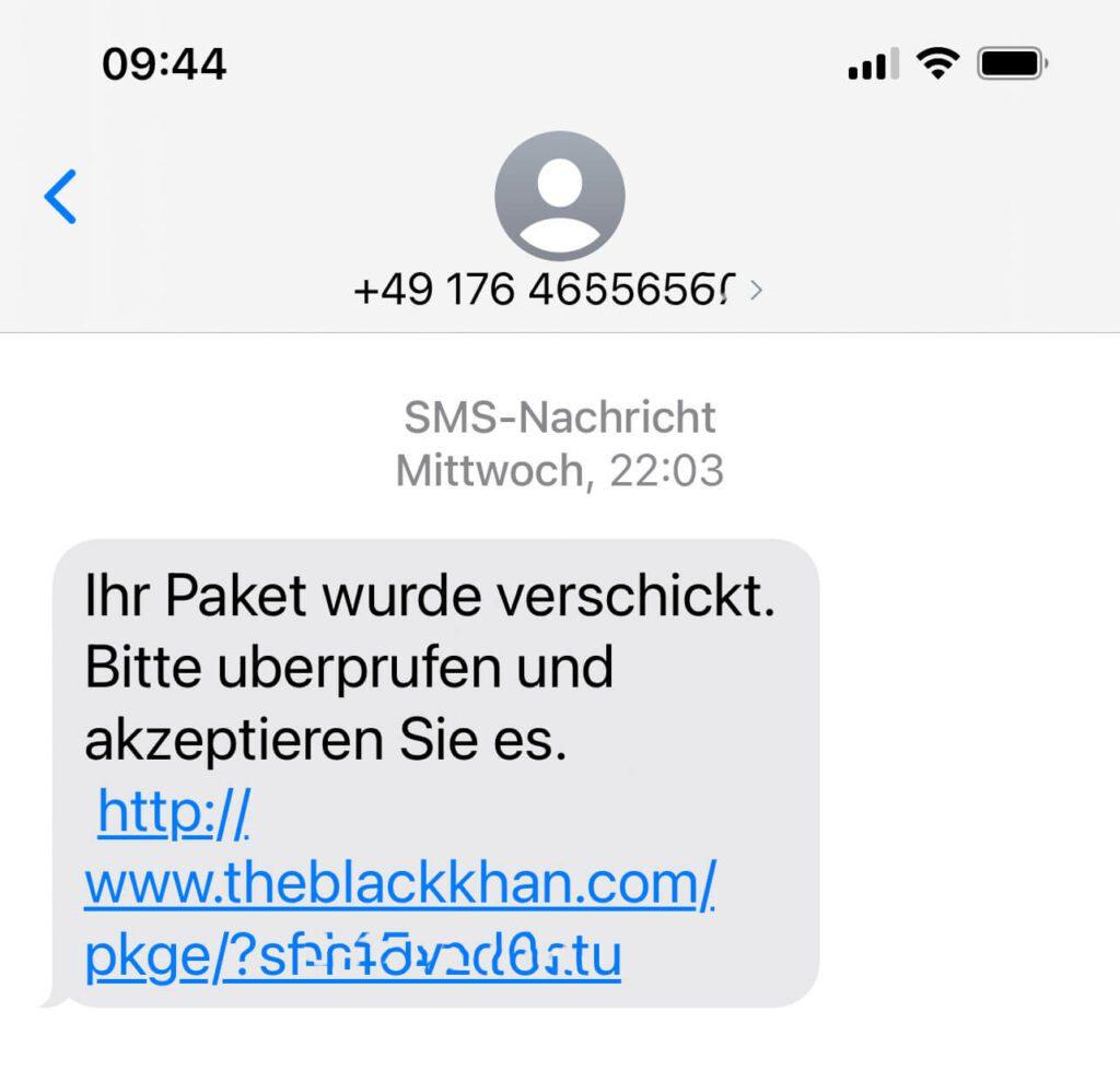 So sieht eine solche Smishing-SMS zum Beispiel aus. Den Link und die Telefonnummer habe ich etwas unkenntlich gemacht, aber der Aufbau ist im Prinzip immer ähnlich (Screenshot: Sir Apfelot).