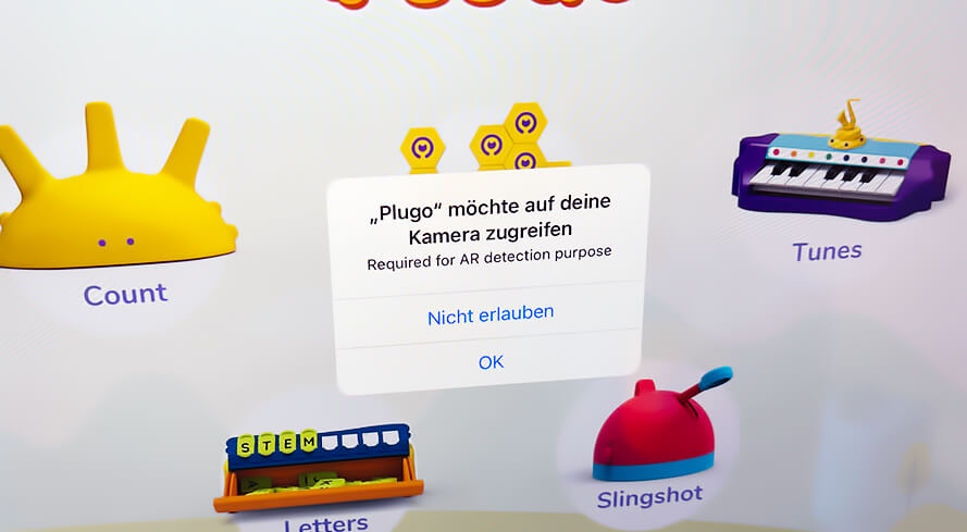 Damit die Plugo App richtig funktionieren kann, benötigt sie Zugriff auf die Kamera.