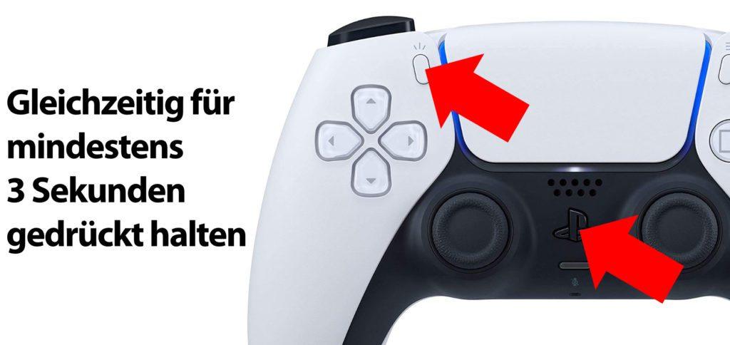 Zum Koppeln müsst ihr am PS5 DualSense Controller gleichzeitig für einige Sekunden den Share- und den PS-Button gedrückt halten.