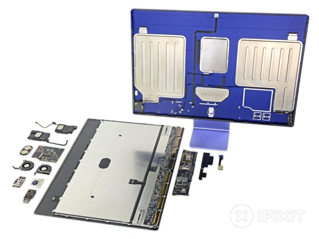 Recht übersichtlich: Die wichtigste Hardware des Apple iMac (early 2021) würde wahrscheinlich auch in einen Laptop passen. Diesen könnte man wenigstens aufschrauben.