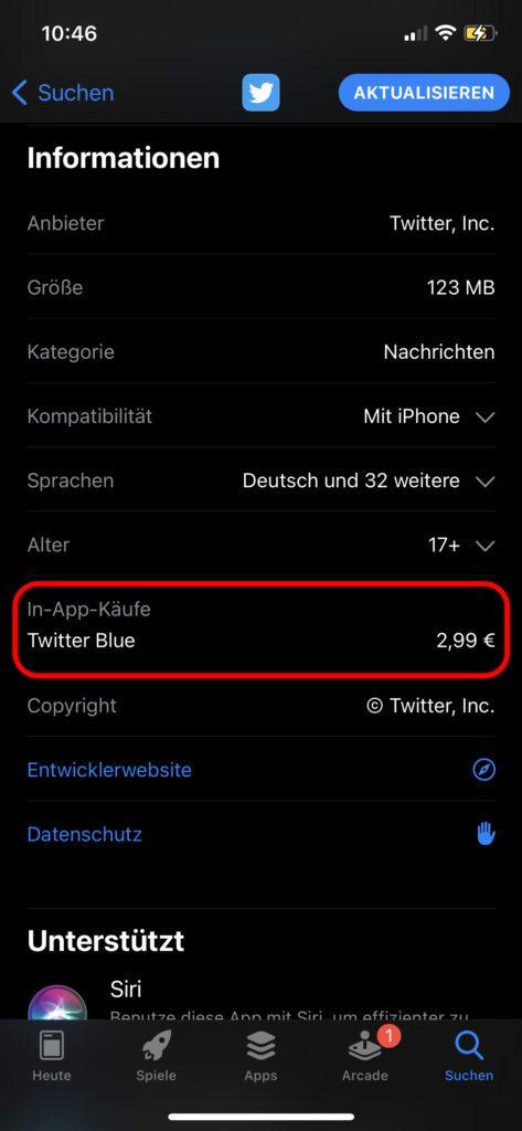 Twitter Blue steht auch im deutschen iOS App Store bereit. Die Twitter App für iPhone kann durch das Abo für 2,99 € im Monat mit weiteren Funktionen und Anpassungsmöglichkeiten ausgestattet werden.