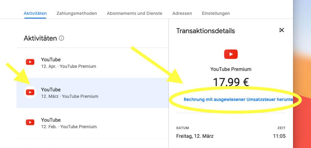 Über pay.google.com findet man alle Belege – unter anderem auch die für den Premium-Service von YouTube.