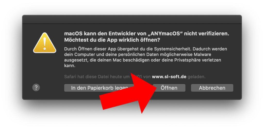 Beim nochmaligen Öffnen von ANYmacOS an eurem Apple Mac sollte nun die Möglichkeit zum tatsächlichen Ausführen der App erscheinen.