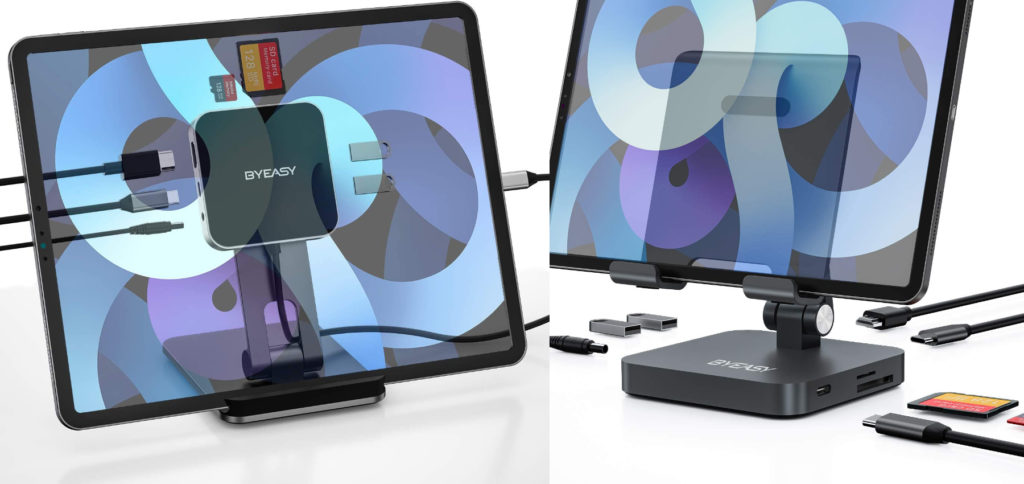 BYEASY bietet zwei Apple iPad Pro Docking-Stations mit HDMI, USB-A, 3,5 mm Audio-Anschluss, SD- und microSD-Slot sowie USB-C PD. Welches iPad Pro Dock findet ihr besser?