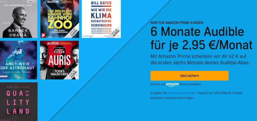 Nur noch bis zum 22. Juni 2021 gibt es das Audible Prime Day Abonnement, mit dem ihr monatlich 7 Euro spart und nur 2,95 Euro zahlt. Dafür steht euch dann eine Auswahl von über 200.000 Hörbüchern zur Auswahl.