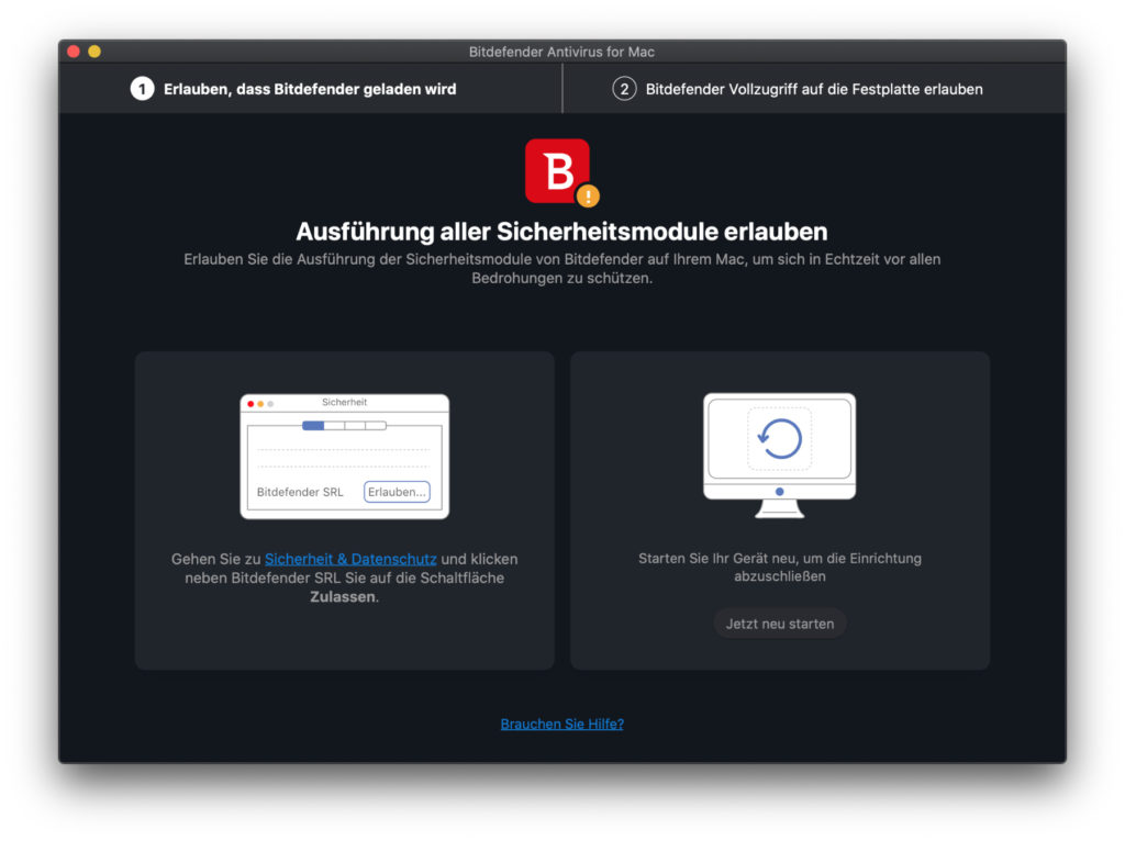 Especially if you download the app from the Bitdefender website, you will probably have to assign a few permissions at the beginning.