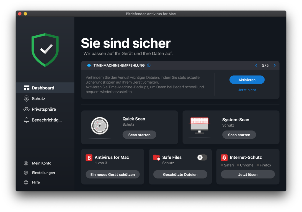At the beginning you land on the dashboard, there you can already use the most important functions: system scan, quick scan, setting up additional Macs (with the appropriate license), safe files, etc.