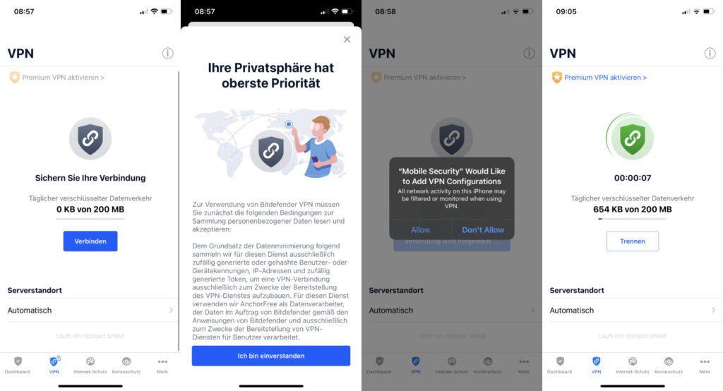 Selbst wenn ihr Bitdefender Mobile Security fürs iPhone kostenlos nutzt, könnt ihr das VPN-Feature verwenden, mit 200 MB Datenaustausch pro Tag.