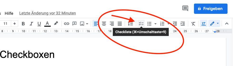 Mit einem Klick auf den richtigen Button kann man ebenfalls Checkboxen einfügen.