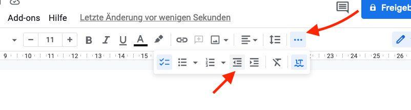 Mit diesen Buttons findet man die Einrücken-Funktion in Google Docs.