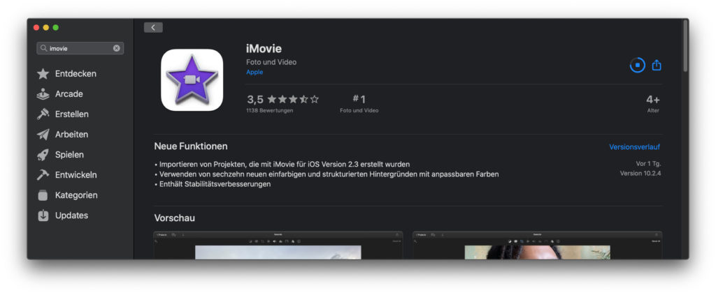 You can find the update of iMovie to version 10.2.4 in the Mac App Store under macOS (Catalina and Big Sur).
