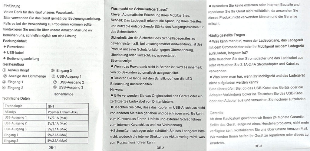 Die Bedienungsanleitung der Jiga Powerbank – hier auf deutsch und in erstaunlich schlechter Qualität (von mir).