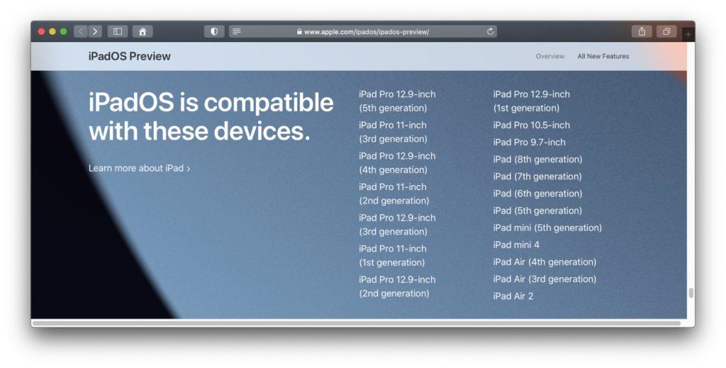 Die offizielle Liste der mit iPadOS 15 kompatiblen iPad-Modelle aus der Preview auf der Apple-Webseite.