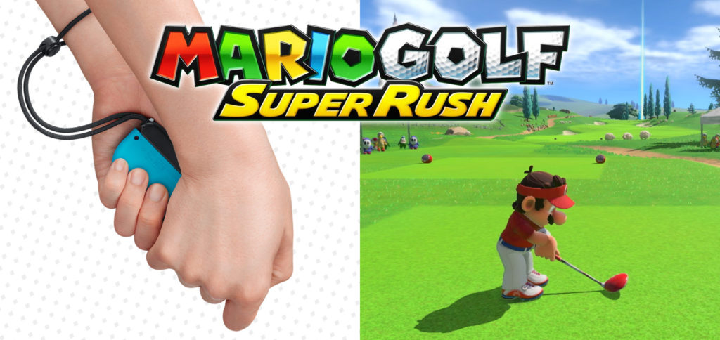 Starting today, you can play Mario Golf: Super Rush on the Nintendo Switch. With button or movement control via the Joy-Cons you hit the ball as one of 16 characters. Up to four players can compete at the same time.