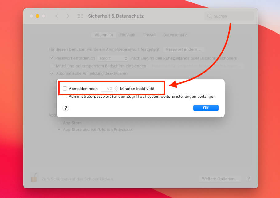 """Die Systemeinstellungen """"Sicherheit und Datenschutz"""" beherbergen auch eine Option, die den Mac anweist, den Benutzer nach einer vorgeschriebenen Zeit komplett abzumelden (Screenshots: Sir Apfelot)."""