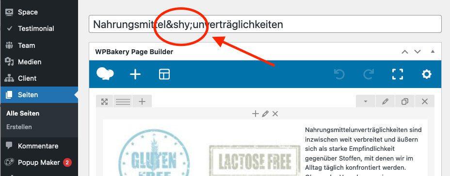 Mit einem einfachen HTML Tag lassen sich Soll-Trennstellen in Überschriften einrichten.