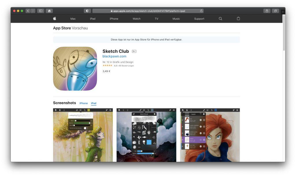 Sketch Club – Mit kleinem bietet diese App nicht nur einen guten Funktionsumfang, sondern dazu eine Community mit regelmäßigen Aufgaben zum Üben und Kunst teilen.