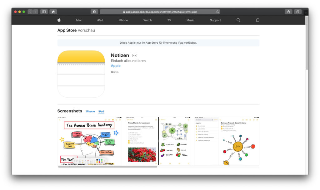 Apple Notizen – Eine App aus der Standardausrüstung des Apple iPad und iPad Pro, in der man nicht nur schreiben, sondern auch zeichnen kann.