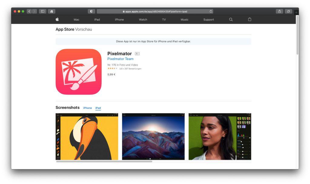 Pixelmator – Am Apple Mac vor allem für die Fotobearbeitung genutzt, könnt ihr am iPad (Pro) auch Skizzen und Zeichnungen erstellen.