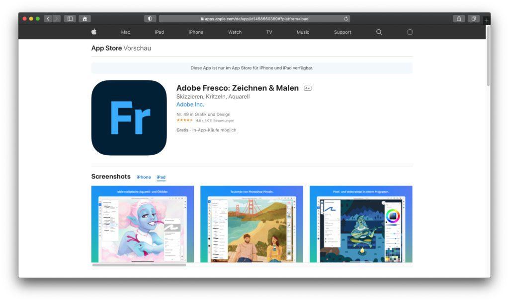 Adobe Fresco: Zeichnen & Malen – Das Adobe-Angebot, das speziell für iPad und Apple Pencil gemacht ist. Die Grundfunktionen lassen sich gratis testen.