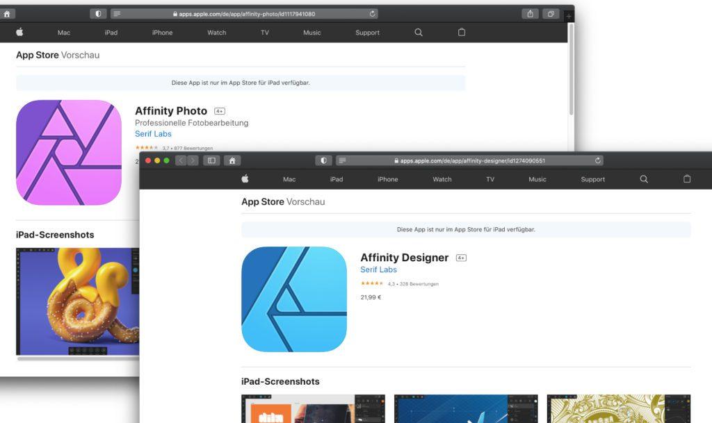 Affinity Photo und Affinity Designer – Fotos bearbeiten, malen zeichnen und / oder Designs erstellen ist mit diesen Apps möglich. Neben der iPad-Version gibt es auch welche für Apple Mac und Windows PC.