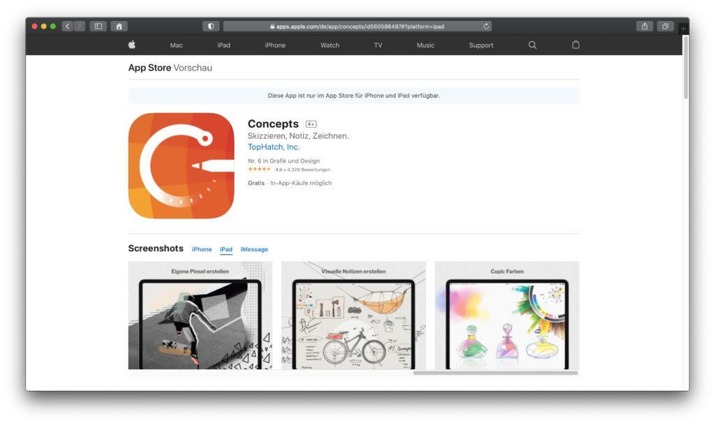 Concepts – Malen und Zeichnen am iPad, aber mit anderen Ansätzen als in den vorigen Apps. Der Aufbau sowie der Zukauf von Inhalten ist individueller gestaltet, um mehr Freiheiten zu bieten.