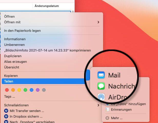 Apple Mail nicht mehr im Teilen-Menü