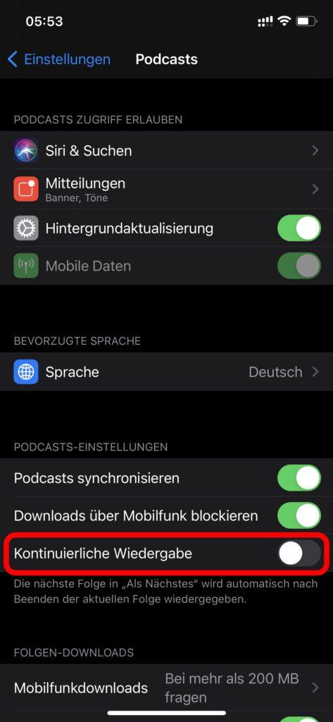 Soll in Apple Podcasts auf dem iPhone oder Mac die Wiedergabe nach der aktuellen Episode beendet werden, könnt ihr dies in den Einstellungen regeln.