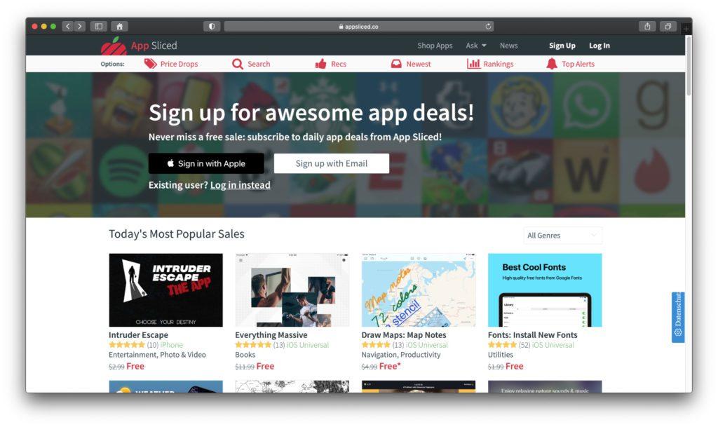 AppSliced ist ein englischsprachiges Angebot und wirkt schon auf den ersten Blick umfangreicher. Für die Nutzung aller Funktionen lässt sich ein Account anlegen.