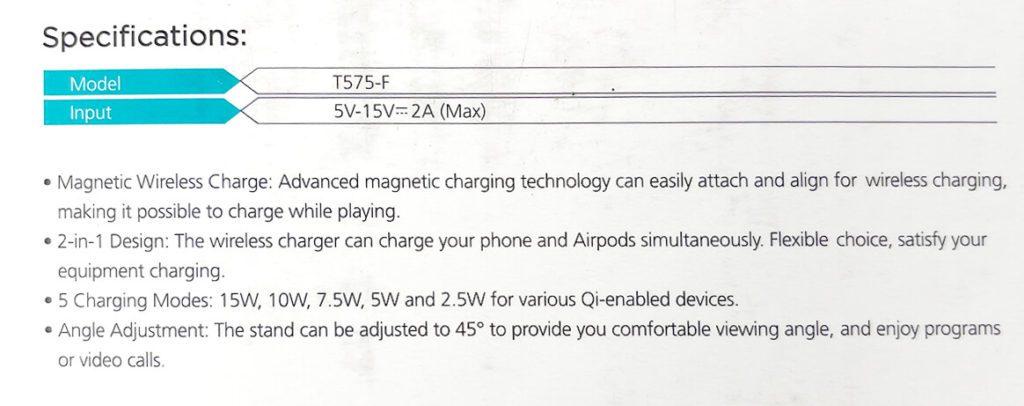 Hier sieht man die technischen Daten des Ladeständers:er bietet bis zu 15 Watt Qi-Charging.